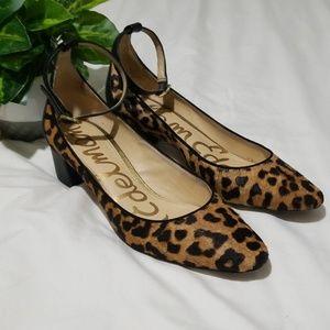 Sam Edelman Lola Leopard Ankle Strap Pump EUC